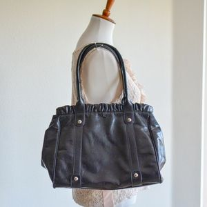 Nine West Black Leather Oversized Shoulder Bag